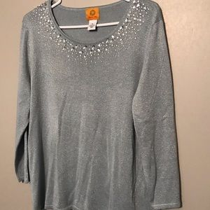 Women's RUBY RD Blue Silver Blouse Size XL NWT